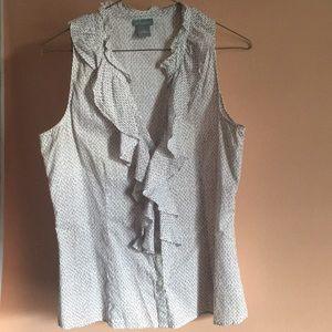 Ann Taylor sleeveless button-down ruffle top